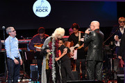 (L-R) Founder of Little Kids Rock Dave Wish, Bernie Williams, Christine Ohlman, and Paul Shaffer perform at the 10th Annual Little Kids Rock benefit concert: Celebrating Lives Transformed Through Music Education at PlayStation Theater on November 8, 2018 in New York City.