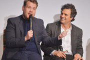 Actors James Corden and Mark Ruffalo attend the 'Begin Again' press conference at Crosby Street Hotel on June 26, 2014 in New York City.