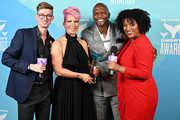Michael Deininger-Bell, Rebecca King-Crews, Terry Crews and Mikhaella Norwood pose backstage in the Winner's Cave during the 11th Annual Shorty Awards on May 05, 2019 at PlayStation Theater in New York City.
