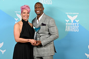 Rebecca King-Crews and Terry Crews pose backstage in the Winner's Cave during the 11th Annual Shorty Awards on May 05, 2019 at PlayStation Theater in New York City.