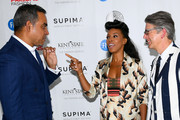 Bibhu Mohapatra, June Ambrose and VP Marketing and Promotions at Supima, Buxton Midyette attends the 11th Annual Supima Design Competition during New York Fashion Week on September 6, 2018 in New York City.