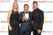 (L-R) Sarah Kate Ellis, Honoree Lydia Polgreen, recipient of The Advocate Award and Wilson Cruz attend the 12th Annual ADCOLOR Awards at JW Marriott Los Angeles at L.A. LIVE on September 23, 2018 in Los Angeles, California.
