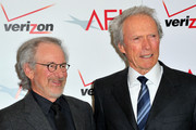 Directors Steven Spielberg (L) and Clint Eastwood arrive at the 12th Annual AFI Awards held at the Four Seasons Hotel Los Angeles at Beverly Hills on January 13, 2012 in Beverly Hills, California.