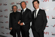 (L-R) Producer/ Director Steven Spielberg (L) and Clint Eastwood, and actor Benedict Cumberbatch (R) arrive at the 12th Annual AFI Awards held at the Four Seasons Hotel Los Angeles at Beverly Hills on January 13, 2012 in Beverly Hills, California.