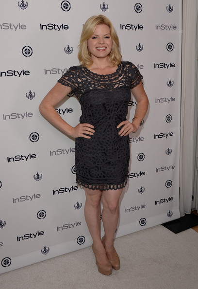 Megan opted for a black lace dress to show off her fit figure at InStyle's Summer Soiree.