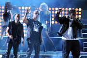 Llandel Veguilla Malave Salazar and Juan Luis Morera Luna of Wisin Y Yandel with Sean Kingston perform onstage during the 12th annual Latin GRAMMY Awards at the Mandalay Bay Events Center on November 10, 2011 in Las Vegas, Nevada.