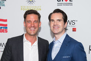 Keir Simmons and Jimmy Carr attend the 12th Annual Stand Up For Heroes at The Hulu Theater at Madison Square Garden on November 5, 2018 in New York City.