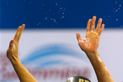 Cesar Cielo Filho of Brazil celebrates after winning the Men's 100m Freestyle Final on day five of the 12th FINA World Swimming Championships (25m) at the Hamad Aquatic Centre on December 7, 2014 in Doha, Qatar.