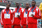 Darrel Brown, Marc Burns, Emmanuel Callander and of Richard Thompson Trinidad and Tobago receive the silver medal during the medal ceremony for the men's 4x100 Metres Final  during day nine of the 12th IAAF World Athletics Championships at the Olympic Stadium on August 23, 2009 in Berlin, Germany.