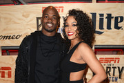 NFL player Adrian Peterson (L) and guest attend the 13th Annual ESPN The Party on February 3, 2017 in Houston, Texas.