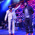 Recording artist George Clinton of Parliament-Funkadelic (L) and recording artist T-Pain perform at the 13th annual Michael Jordan Celebrity Invitational gala at the ARIA Resort & Casino at CityCenter on April 4, 2014 in Las Vegas, Nevada.