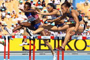(L-R) Antoinette Nana Djimou Ida of France, Louise Hazel of Great Britain and Hyleas Fountain of United States competes in the 100 metres hurdles in the women's heptathlon during day three of the 13th IAAF World Athletics Championships at the Daegu Stadium on August 29, 2011 in Daegu, South Korea.