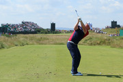 John Singleton of England hits his tee shot on the sixth hole during the first round of The 143rd Open Championship at Royal Liverpool on July 17, 2014 in Hoylake, England.