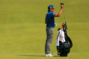 Rickie Fowler of the United States pulls a club from his bag as he prepares to play a shot  during a practice round prior to the 148th Open Championship held on the Dunluce Links at Royal Portrush Golf Club on July 16, 2019 in Portrush, United Kingdom.