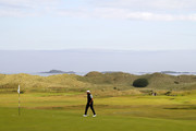 Tiger Woods of the United States walks on a green during a practice round prior to the 148th Open Championship held on the Dunluce Links at Royal Portrush Golf Club on July 16, 2019 in Portrush, United Kingdom.