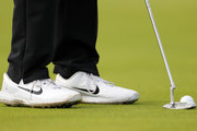 A detail of the shoes of Tiger Woods of the United States during a practice round prior to the 148th Open Championship held on the Dunluce Links at Royal Portrush Golf Club on July 16, 2019 in Portrush, United Kingdom.