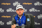 Graeme McDowell of Northern Ireland speaks to the media during a press conference prior to the 148th Open Championship held on the Dunluce Links at Royal Portrush Golf Club on July 17, 2019 in Portrush, United Kingdom.