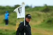 Phil Mickelson of the United States looks on during a practice round prior to the 148th Open Championship held on the Dunluce Links at Royal Portrush Golf Club on July 17, 2019 in Portrush, United Kingdom.