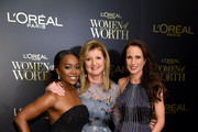 (L-R) Aja Naomi King, Arianna Huffington, and Andie MacDowell attend the 14th Annual L'Oreal Paris Women Of Worth Awards at The Pierre on December 04, 2019 in New York City.