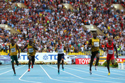 (L-R )Anaso Jobodwana of South Africa, Nickel Ashmeade of Jamaica, Adam Gemili of Great Britain, Usain Bolt of Jamaica and Curtis Mitchell of the United States compete in the Men's 200 metres final during Day Eight of the 14th IAAF World Athletics Championships Moscow 2013 at Luzhniki Stadium on August 17, 2013 in Moscow, Russia.