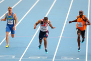 (L-R) Serhiy Smelyk of Ukraine, Adam Gemili of Great Britain and Churandy Martina of the Netherlands compete in the Men's 200 metres semi finals during Day Seven of the 14th IAAF World Athletics Championships Moscow 2013 at Luzhniki Stadium at Luzhniki Stadium on August 16, 2013 in Moscow, Russia.