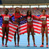 Alexandria Anderson Photos - Bronze medalist Alexandria Anderson, Jeneba Tarmoh, English Gardner, Octavious Freeman of the United States pose after the Women's 4x100 metres final during Day Nine of the 14th IAAF World Athletics Championships Moscow 2013 at Luzhniki Stadium on August 18, 2013 in Moscow, Russia. - 14th IAAF World Athletics Championships Moscow 2013 - Day Nine