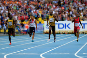 (L-R) Nickel Ashmeade of Jamaica, Adam Gemili of Great Britain, Usain Bolt of Jamaica and Curtis Mitchell of the United States compete in the Men's 200 metres final during Day Eight of the 14th IAAF World Athletics Championships Moscow 2013 at Luzhniki Stadium on August 17, 2013 in Moscow, Russia.