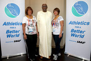 Daughter and Grand Daughter of Jesse Owens meet IAAF President Diack as Jesse Owens Foundation partners with IAAF Athletics for a Better World -  IAAF President Lamine Diack poses for a photograph with Beverly Owens Prather (right) daughter of Jessie Owens and Donna Prather Williams, granddaughter of Jessie Owens during day six of the 15th IAAF World Athletics Championships Beijing 2015 at Beijing National Stadium on August 27, 2015 in Beijing, China.