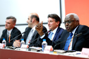 (L-R) IAAF President elect, Sebastian Coe and IAAF President Lamine Diack attend the IAAF and Local Organising Committee (LOC) press conference during day nine of the 15th IAAF World Athletics Championships Beijing 2015 at Beijing National Stadium on August 30, 2015 in Beijing, China.