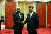 Outgoing president of the IAAF Lamine Diack (L) and President of the People's Republic of China Xi Jinping greet each other during the Opening Ceremony for the 15th IAAF World Athletics Championships Beijing 2015 at Beijing National Stadium on August 22, 2015 in Beijing, China.