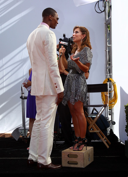 Chris Bosh of the Miami Heat talks with Colleen Dominguez of ESPN at