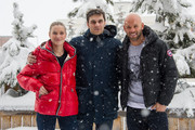 (L-R) Adrianna Gradziel, Pio Marmai and Franck Gastambide pose during the photocall for 'Toute premiere fois' during the 18th L'Alpe D'Huez International Comedy Film Festival in l'Alpe d'Huez, France.
