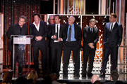 """(L-R) Honorees Kurt Russell, Michael Madsen, James Parks, Walton Goggins, Bruce Dern, Tim Roth and Channing Tatum accept the Hollywood Ensemble Award for """"The Hateful Eight"""" onstage during the 19th Annual Hollywood Film Awards at The Beverly Hilton Hotel on November 1, 2015 in Beverly Hills, California."""