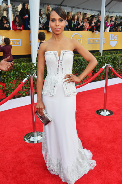 Actress Kerry Washington arrives at the 19th Annual Screen Actors Guild Awards held at The Shrine Auditorium on January 27, 2013 in Los Angeles, California.