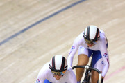 Jenny Davis and Charline Joiner of Scotland compete in the Women's Team Sprint final during the Track Cycling event at the IG Sports Complex during day three of the Delhi 2010 Commonwealth Games on on October 6, 2010 in Delhi, India.