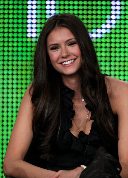 Actress Nina Dobrev speaks onstage at the CW The Vampire Diaries QA