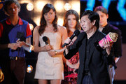 Ken Jeong accepts the WTF award from Michael Cera, Aubrey Plaza, Anna Kendrick, and Kieran Culkin onstage at the 2010 MTV Movie Awards held at the Gibson Amphitheatre at Universal Studios  on June 6, 2010 in Universal City, California.