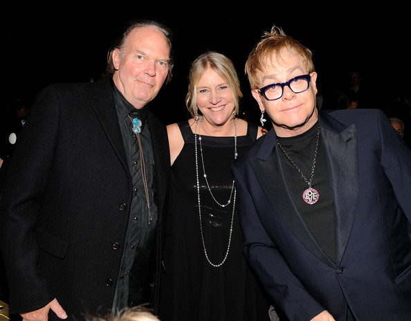 MusiCares Person of the Year Neil Young, Pegi Young and musician Elton John attend the 2010 MusiCares Person Of The Year  Tribute To Neil Young at the Los Angeles Convention Center on January  29, 2010 in Los Angeles, California
