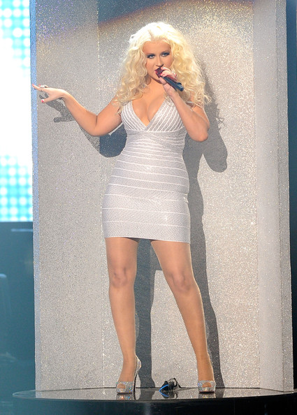 Singer Christina Aguilera performs onstage at the 2011 American Music Awards held at Nokia Theatre L.A. LIVE on November 20, 2011 in Los Angeles, California.