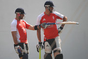 Matt Prior andnKevin Pietersen of England have a chat  during the England nets session at the Vidarbha Cricket Association Ground on February 21, 2011 in Nagpur, India.