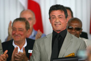 Sylvester Stallone smiles after being inducted into the International Boxing Hall of Fame at the International Boxing Hall of Fame on June 12, 2011 in Canastota, New York.