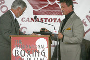 Sylvester Stallone receives his ring  during his induction speech at the 2011 International Boxing Hall of Fame Inductions at the International Boxing Hall of Fame on June 12, 2011 in Canastota, New York. Stallone was a 2011 inductee.