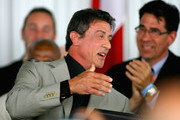 Sylvester Stallone laughs after being inducted  during the 2011 International Boxing Hall of Fame Inductions at the International Boxing Hall of Fame   on June 12, 2011 in Canastota, New York.