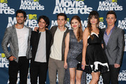 Actors (L-R) Tyler Hoechlin, Tyler Posey, Dylan O'Brien, Holland Roden, Crystal Reed, and Colton Haynes pose in the press room during the 2011 MTV Movie Awards at Universal Studios' Gibson Amphitheatre on June 5, 2011 in Universal City, California.