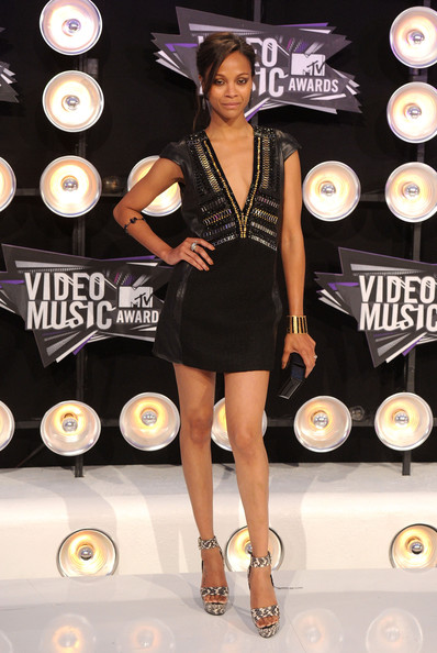 Actress Zoe Saldana arrives at the 2011 MTV Video Music Awards at Nokia Theatre L.A. LIVE on August 28, 2011 in Los Angeles, California.