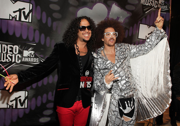 Recording artists Skyblu (L) and Redfoo of LMFAO arrive at the 2011 MTV Video Music Awards at Nokia Theatre L.A. LIVE on August 28, 2011 in Los Angeles, California.