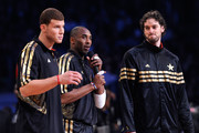 (L-R) Blake Griffin #32 of the Los Angeles Clippers and the Western Conference, Kobe Bryant #24 of the Los Angeles Lakers and the Western Conference and Pau Gasol #16 of the Los Angeles Lakers  and the Western Conference address the crowd before the 2011 NBA All-Star Game at Staples Center on February 20, 2011 in Los Angeles, California. NOTE TO USER: User expressly acknowledges and agrees that, by downloading and or using this photograph, User is consenting to the terms and conditions of the Getty Images License Agreement.