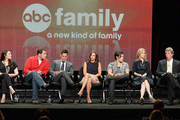 """(L-R) Executive Producer Gina Girolamo, actors Andy Buckley, Adrian Pasdar, Alexandra Chando Blair Redford, Helen Slater and Executive Producer Charles Pratt, Jr.  of the television show """"The Lying Game"""" speak during the Disney ABC Television Group portion of the 2011 Summer Television Critics Association Press Tour held at The Beverly Hilton Hotel on August 7, 2011 in Beverly Hills, California."""