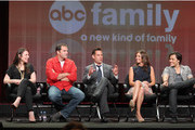 """(L-R) Executive Producer Gina Girolamo, actors Andy Buckley, Adrian Pasdar, Alexandra Chando and Blair Redford of the television show """"The Lying Game"""" speak during the Disney ABC Television Group portion of the 2011 Summer Television Critics Association Press Tour held at The Beverly Hilton Hotel on August 7, 2011 in Beverly Hills, California."""
