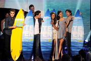 (L-R) Actors Paul Wesley, Michael Trevino, Kat Graham, Nina Dobrev, and Ian Somerhalder accept the Choice Fantasy/Sci-Fi TV Show award onstage during the 2011 Teen Choice Awards held at the Gibson Amphitheatre on August 7, 2011 in Universal City, California.